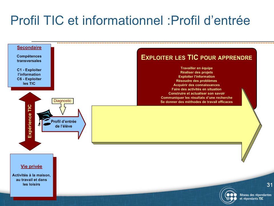 Profil TIC et informationnel :Profil d'entrée