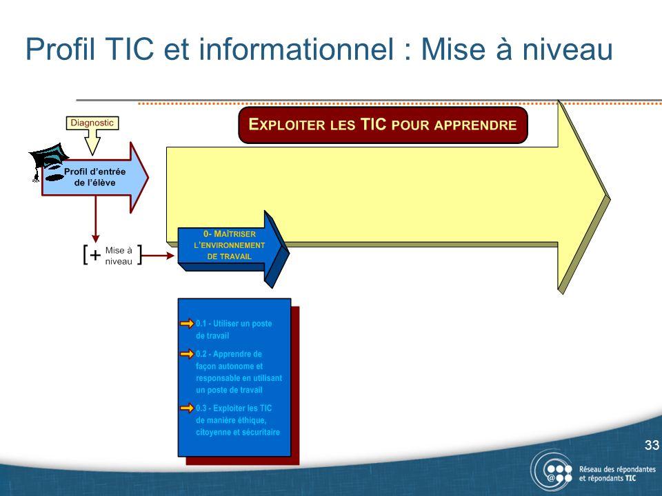 Profil TIC et informationnel : Mise à niveau