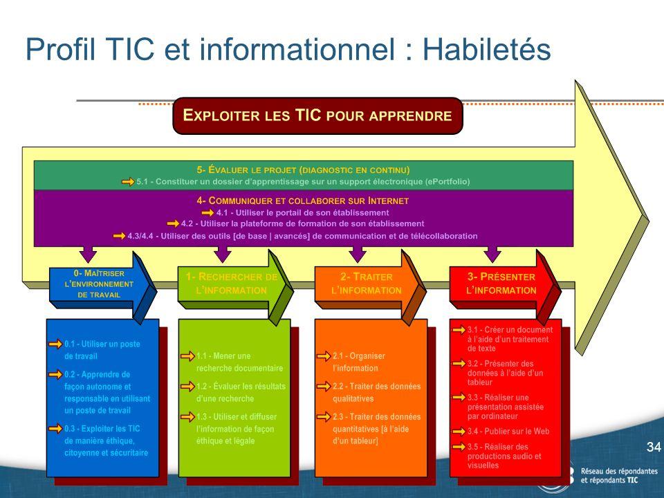 Profil TIC et informationnel : Habiletés