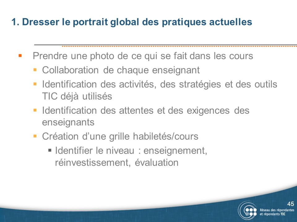 1. Dresser le portrait global des pratiques actuelles