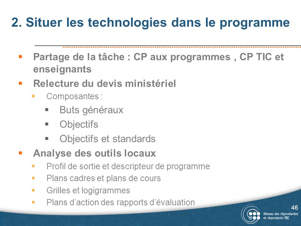 2. Situer les technologies dans le programme