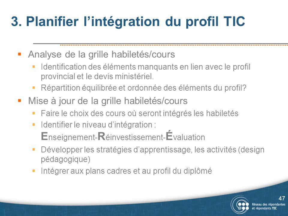 3. Planifier l'intégration du profil TIC