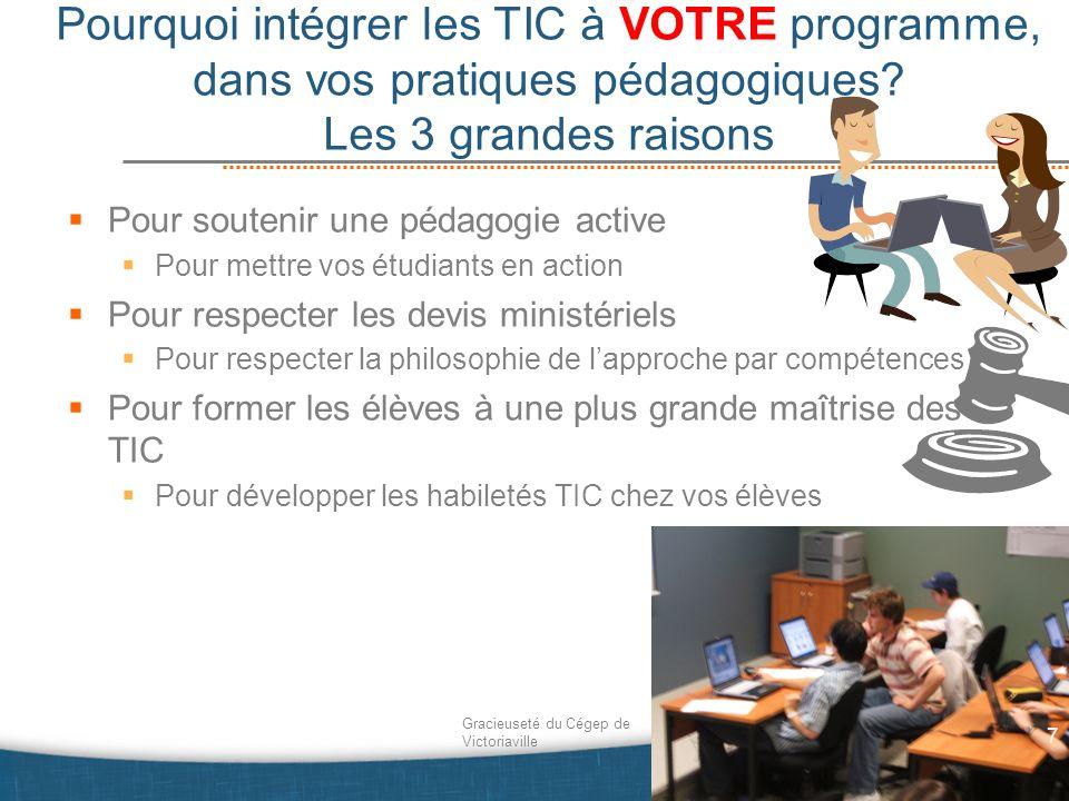 Pourquoi intégrer les TIC à VOTRE programme, dans vos pratiques pédagogiques Les 3 grandes raisons