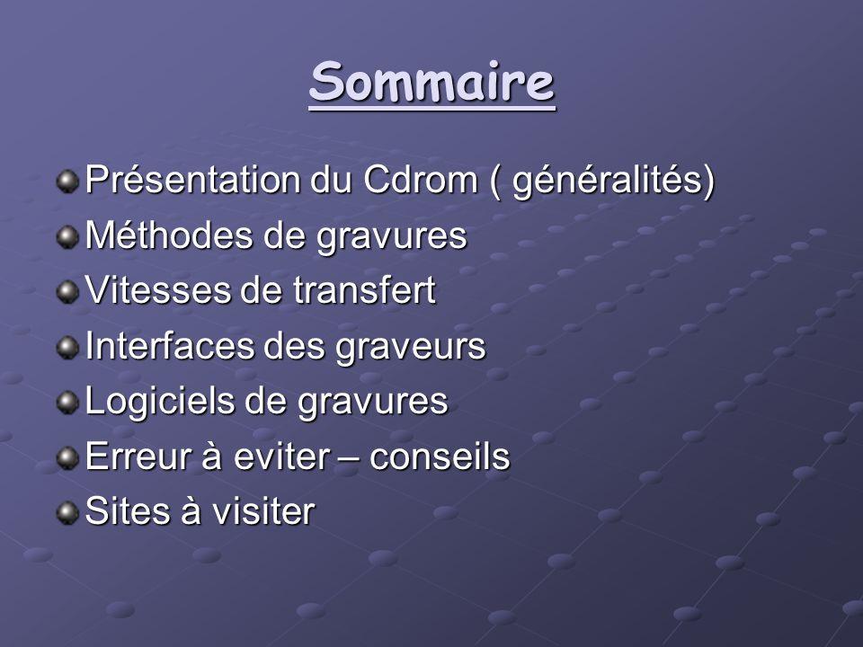 Sommaire Présentation du Cdrom ( généralités) Méthodes de gravures