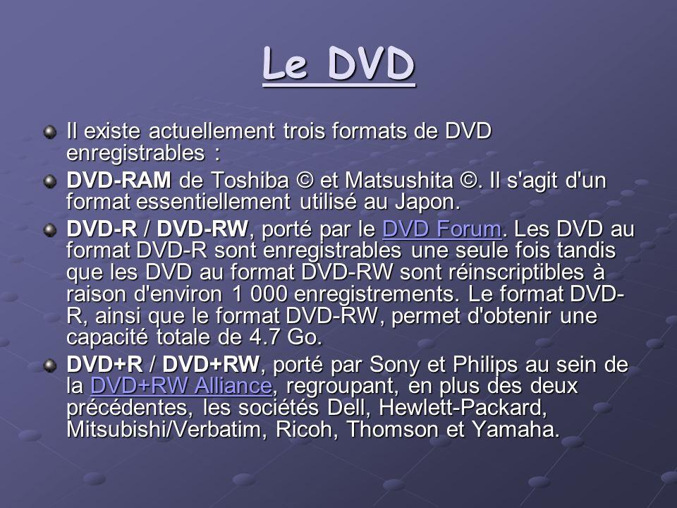 Le DVD Il existe actuellement trois formats de DVD enregistrables :