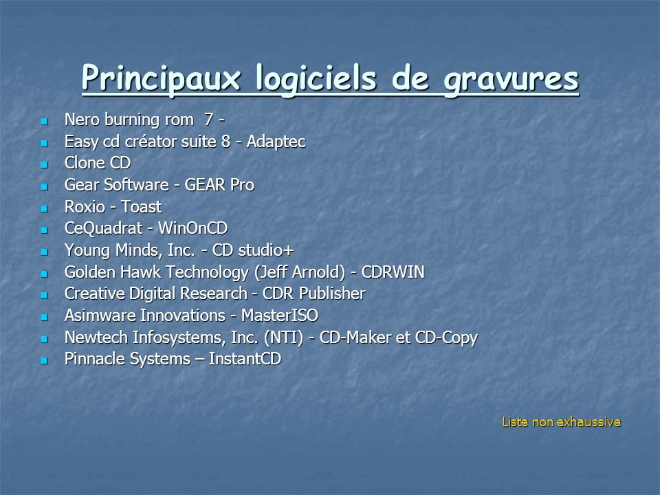 Principaux logiciels de gravures