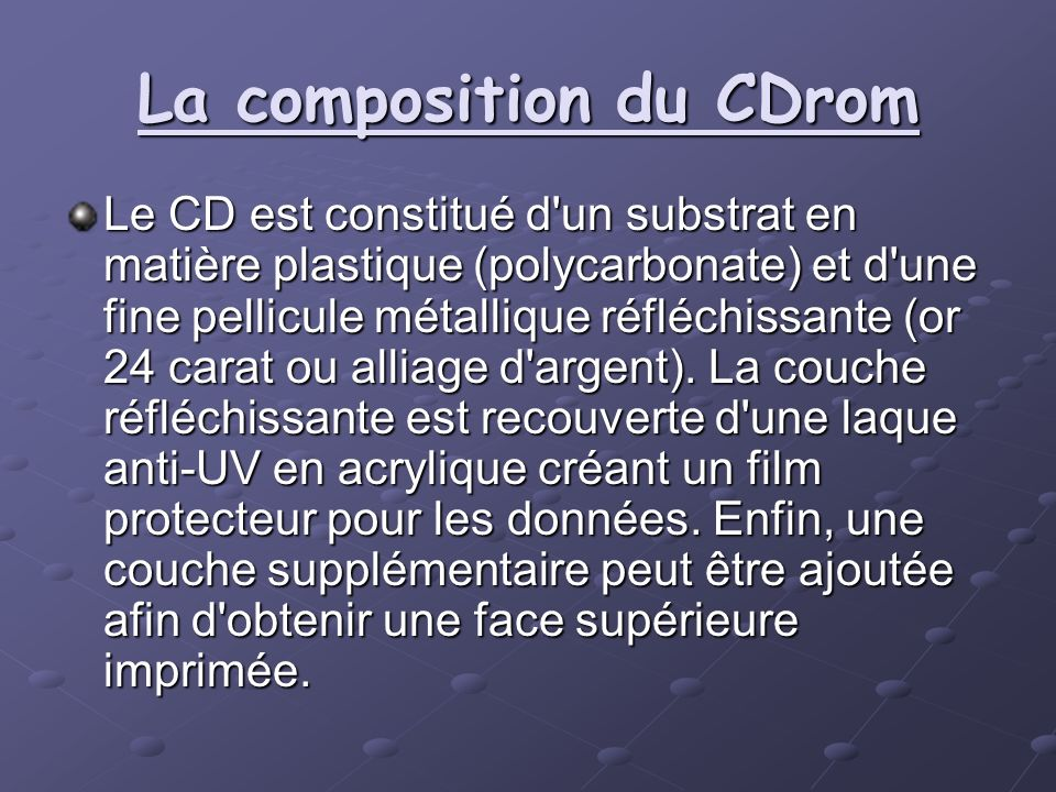 La composition du CDrom