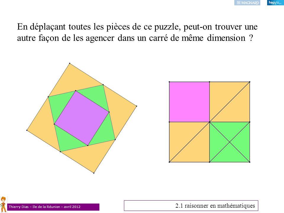 En déplaçant toutes les pièces de ce puzzle, peut-on trouver une autre façon de les agencer dans un carré de même dimension