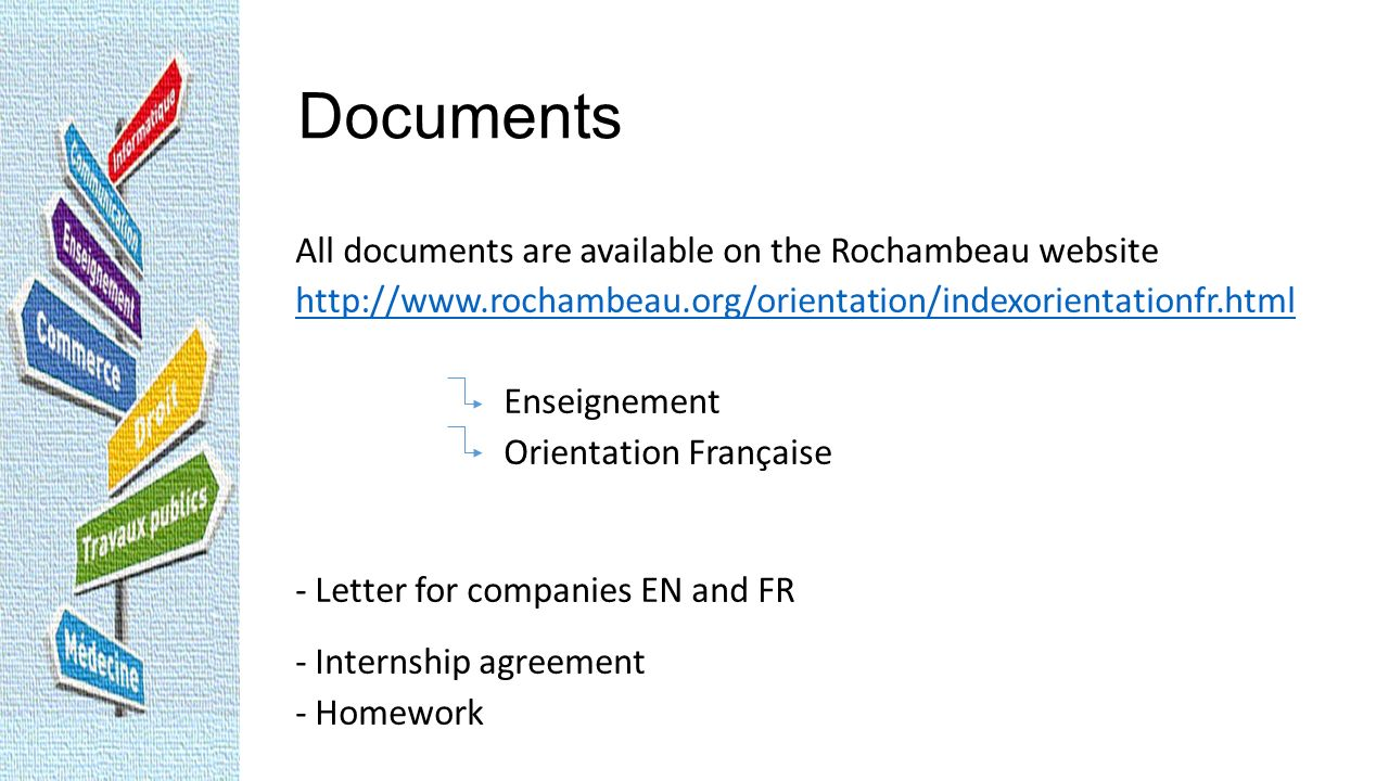 Documents All documents are available on the Rochambeau website