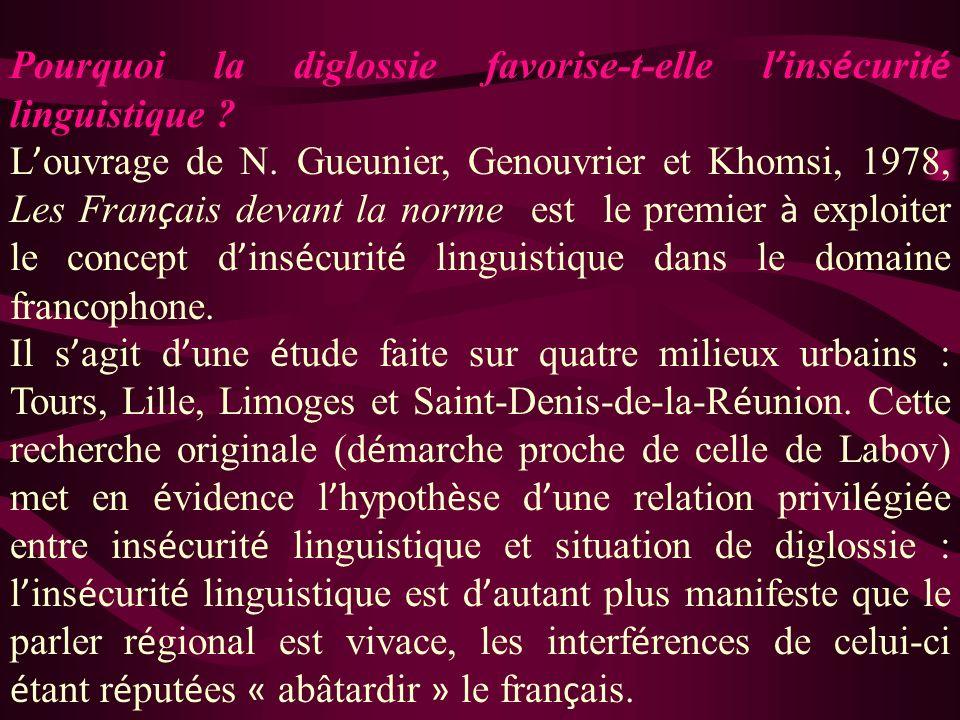 Pourquoi la diglossie favorise-t-elle l'insécurité linguistique