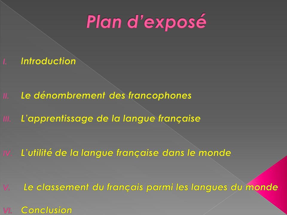 Plan d'exposé Introduction Le dénombrement des francophones