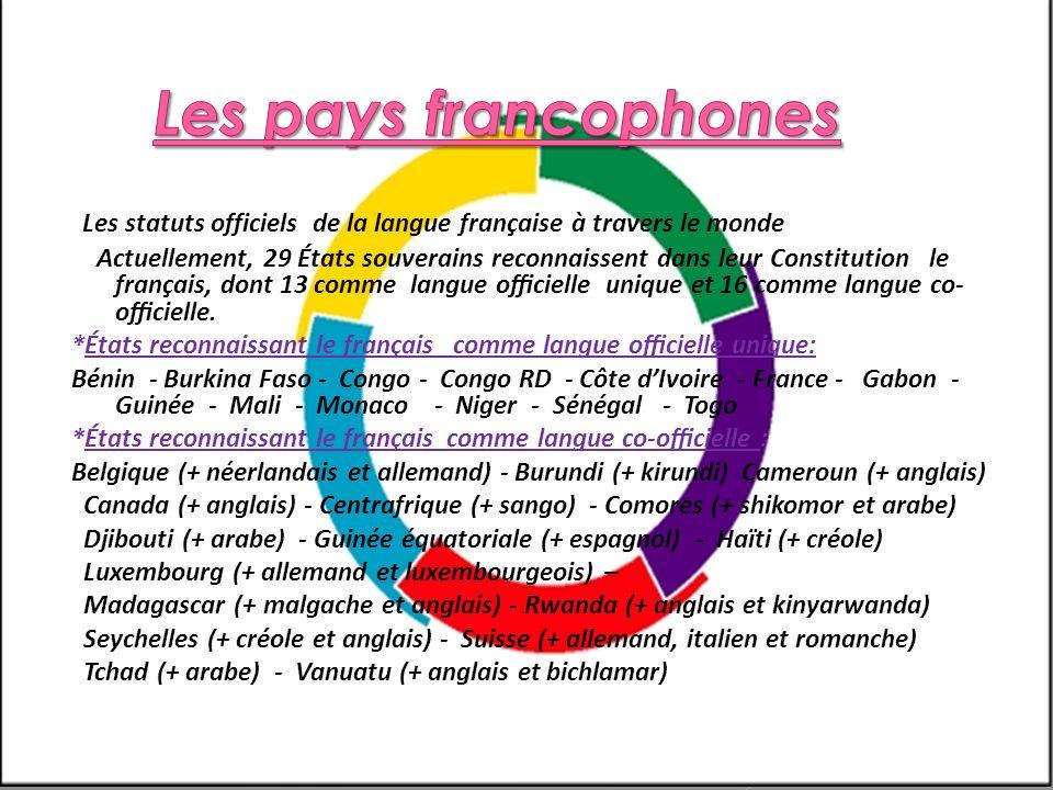 Les pays francophones Les statuts officiels de la langue française à travers le monde.