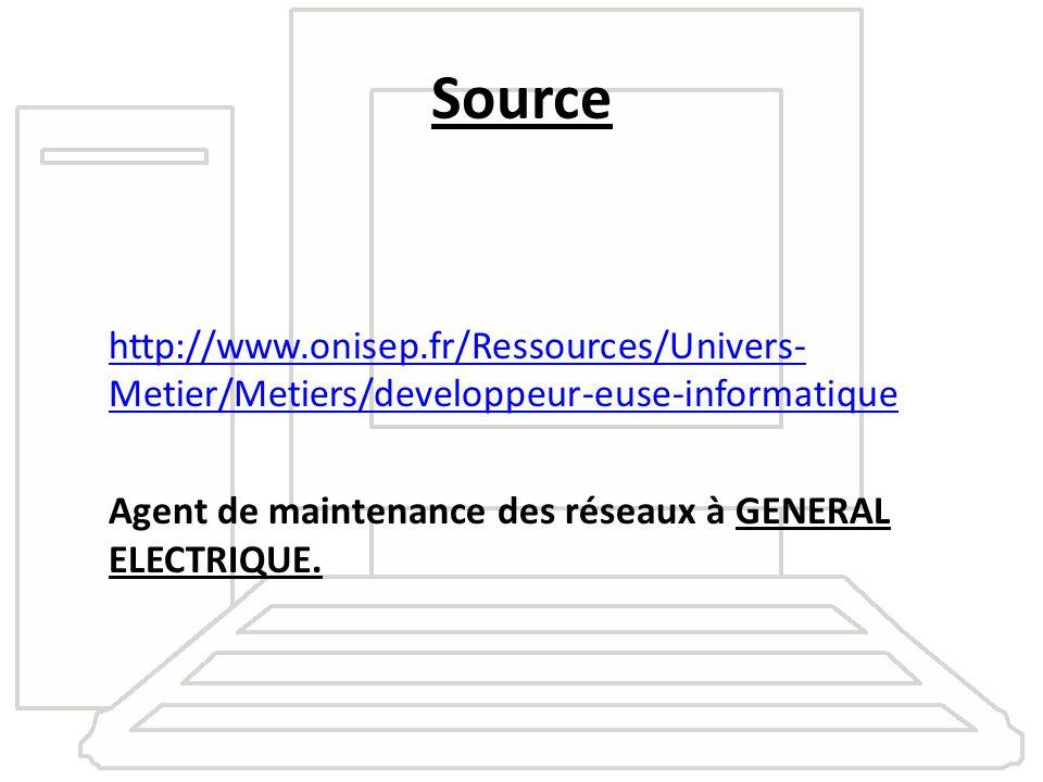 Source http://www.onisep.fr/Ressources/Univers-Metier/Metiers/developpeur-euse-informatique Agent de maintenance des réseaux à GENERAL ELECTRIQUE.