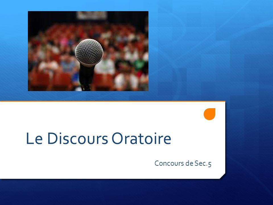 Le Discours Oratoire Concours de Sec.5