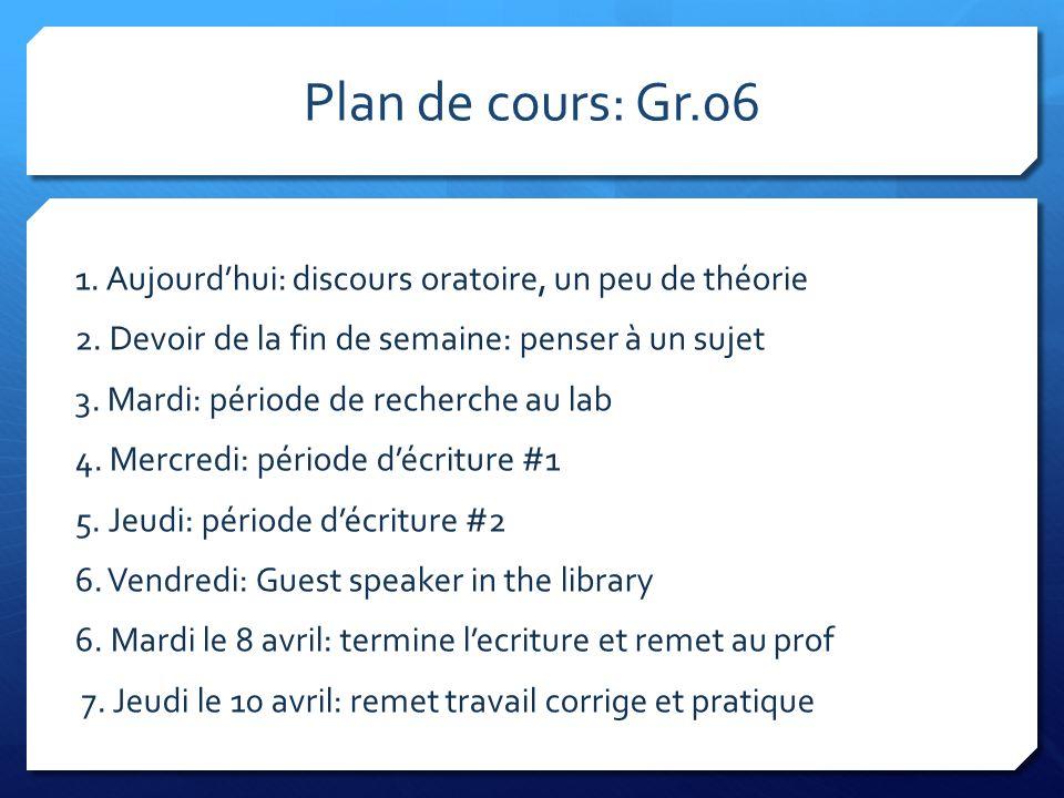 Plan de cours: Gr.06 1. Aujourd'hui: discours oratoire, un peu de théorie. 2. Devoir de la fin de semaine: penser à un sujet.
