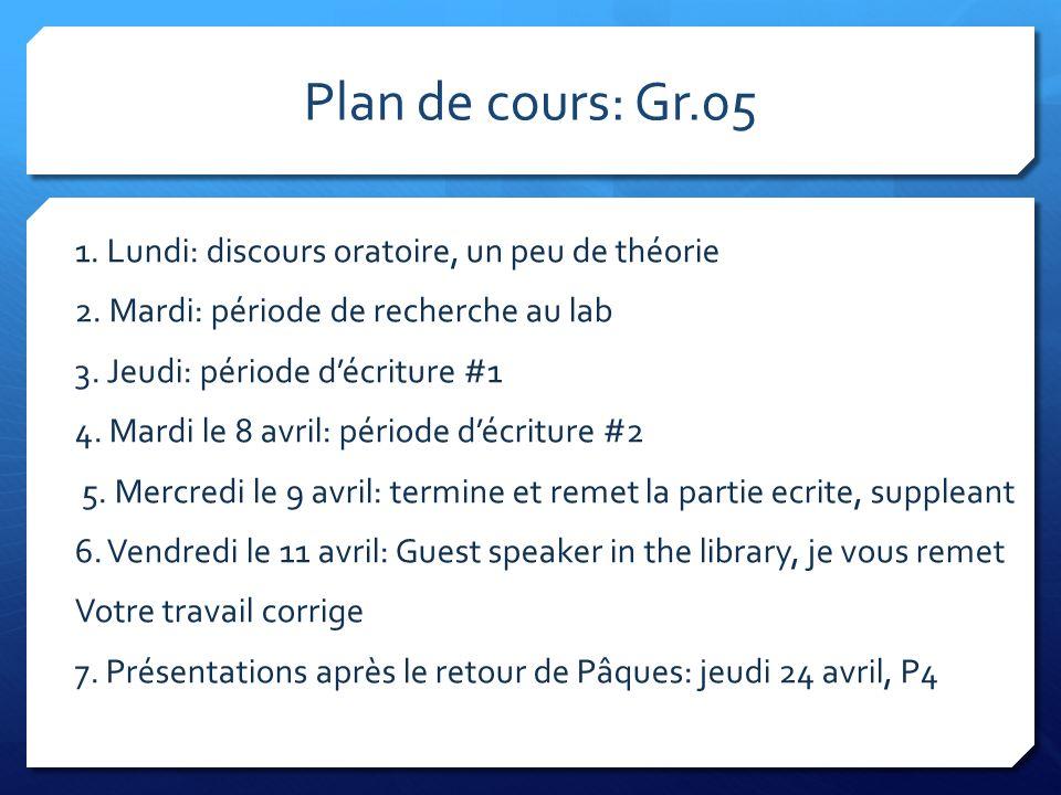 Plan de cours: Gr.05 1. Lundi: discours oratoire, un peu de théorie