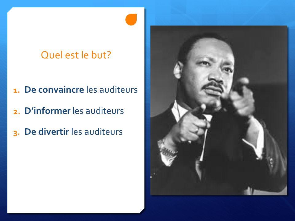 Quel est le but De convaincre les auditeurs D'informer les auditeurs