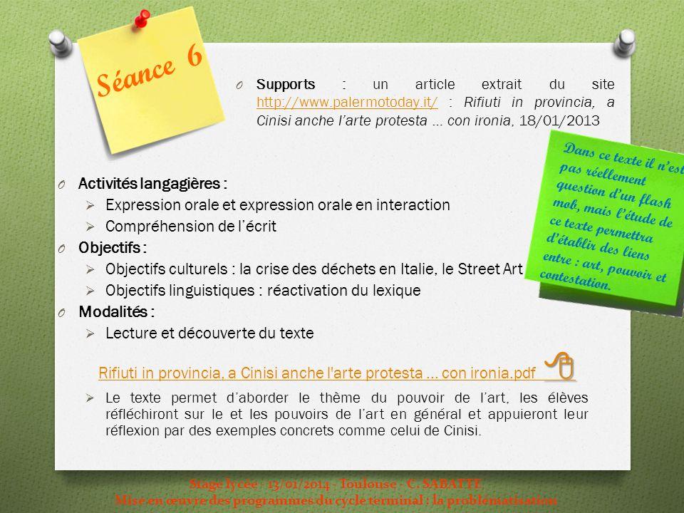 Séance 6 Activités langagières :