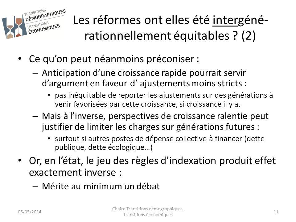 Les réformes ont elles été intergéné-rationnellement équitables (2)