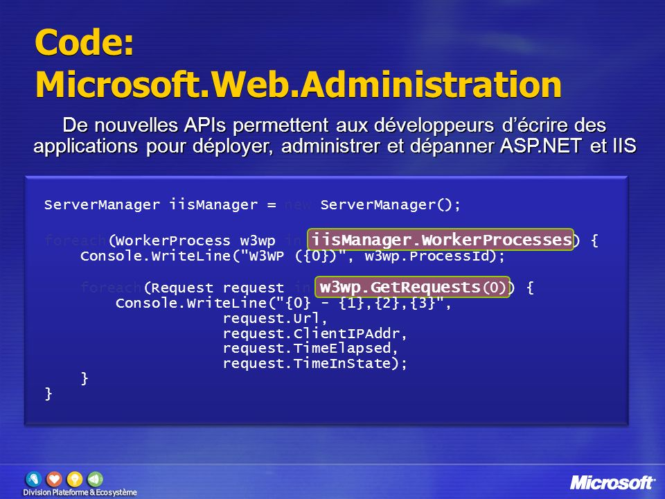 Code: Microsoft.Web.Administration