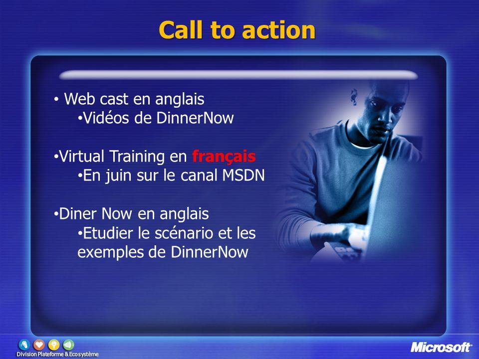Call to action Web cast en anglais Vidéos de DinnerNow