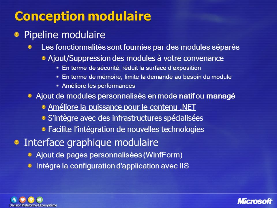 Conception modulaire Pipeline modulaire Interface graphique modulaire