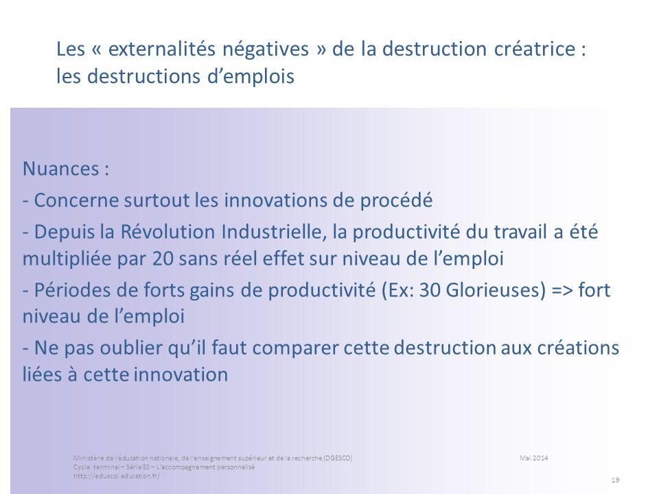 Les « externalités négatives » de la destruction créatrice : les destructions d'emplois