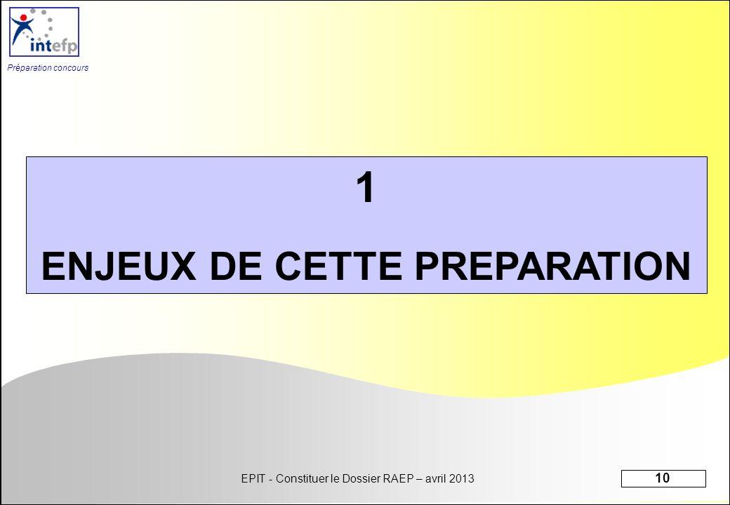 ENJEUX DE CETTE PREPARATION
