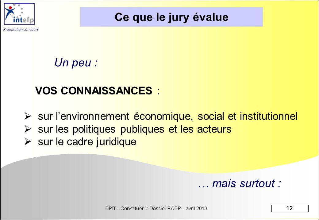 Ce que le jury évalue Un peu : … mais surtout : VOS CONNAISSANCES :