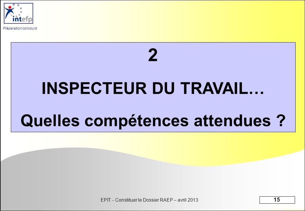 INSPECTEUR DU TRAVAIL… Quelles compétences attendues