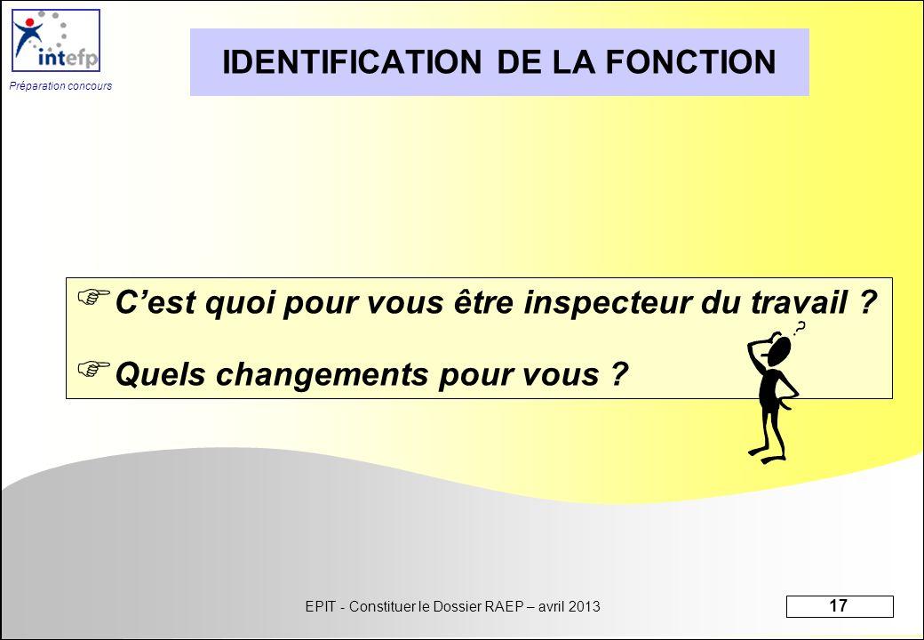 IDENTIFICATION DE LA FONCTION