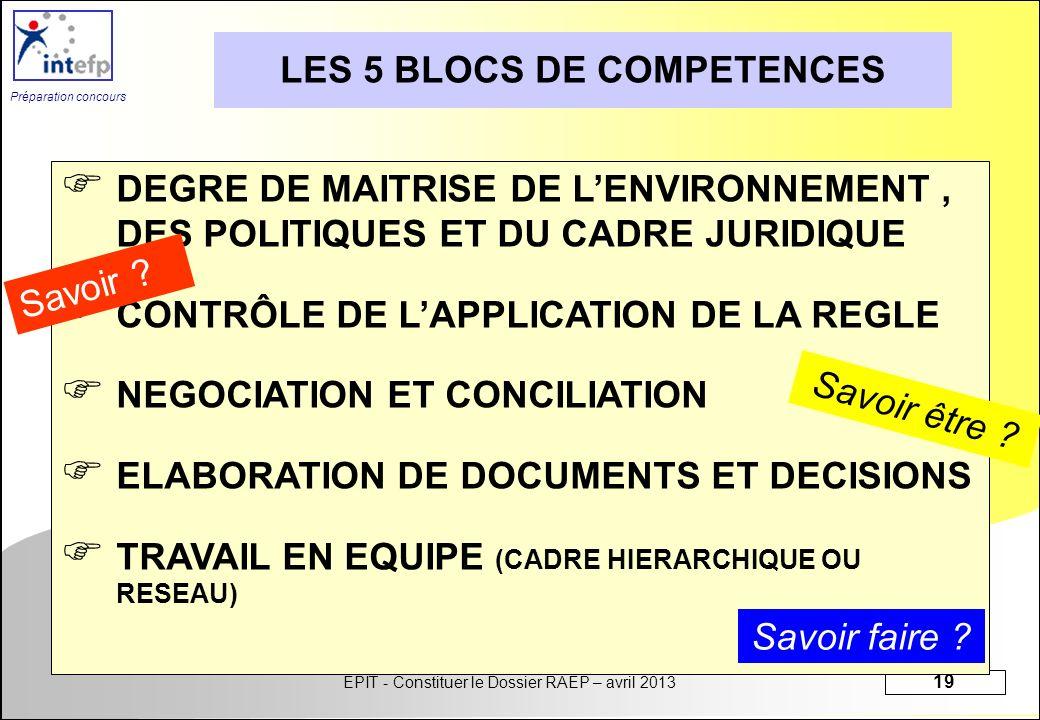 LES 5 BLOCS DE COMPETENCES