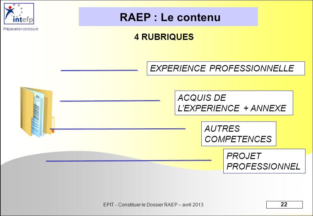 RAEP : Le contenu 4 RUBRIQUES EXPERIENCE PROFESSIONNELLE