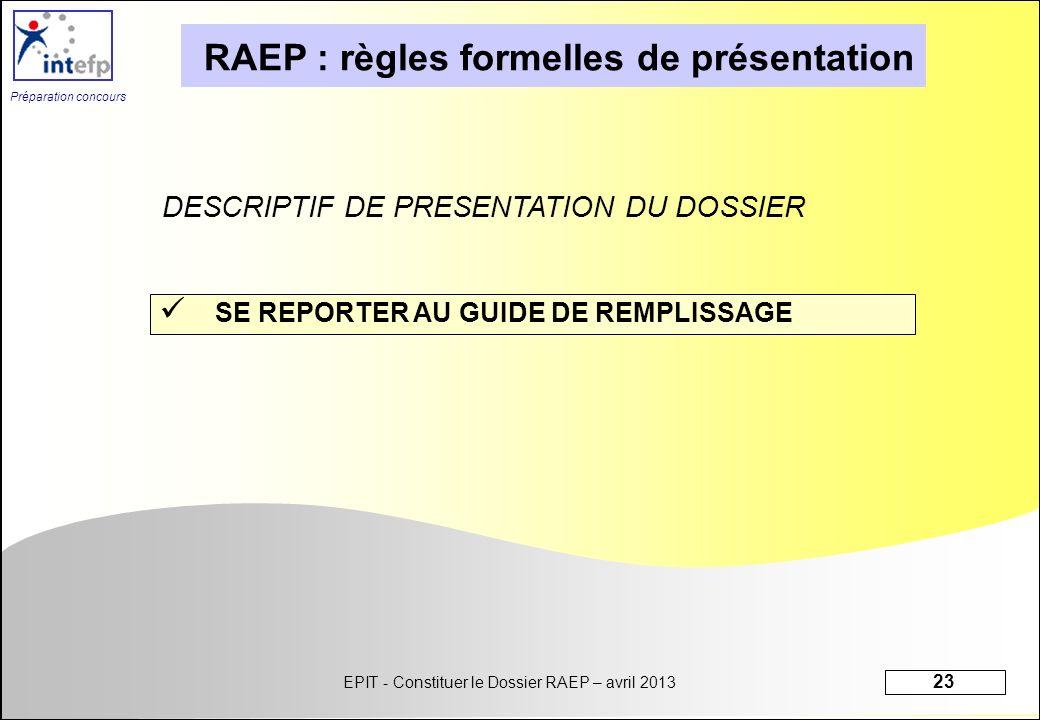RAEP : règles formelles de présentation