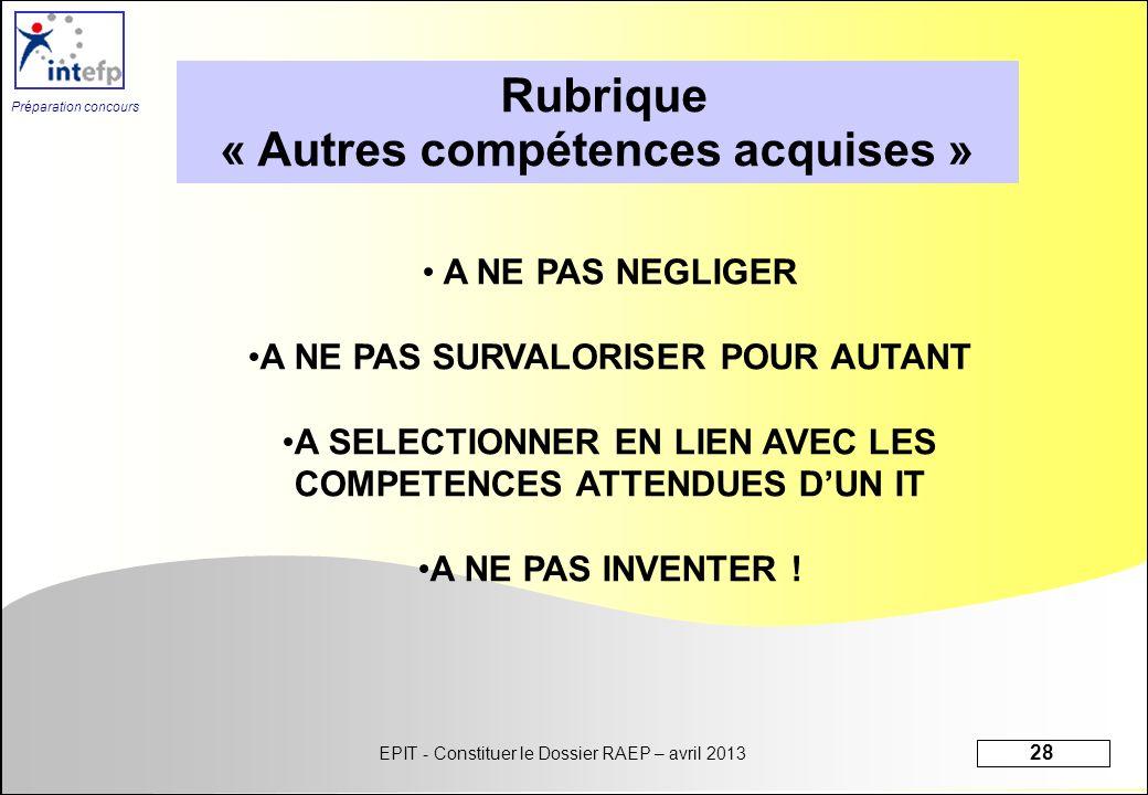 Rubrique « Autres compétences acquises »