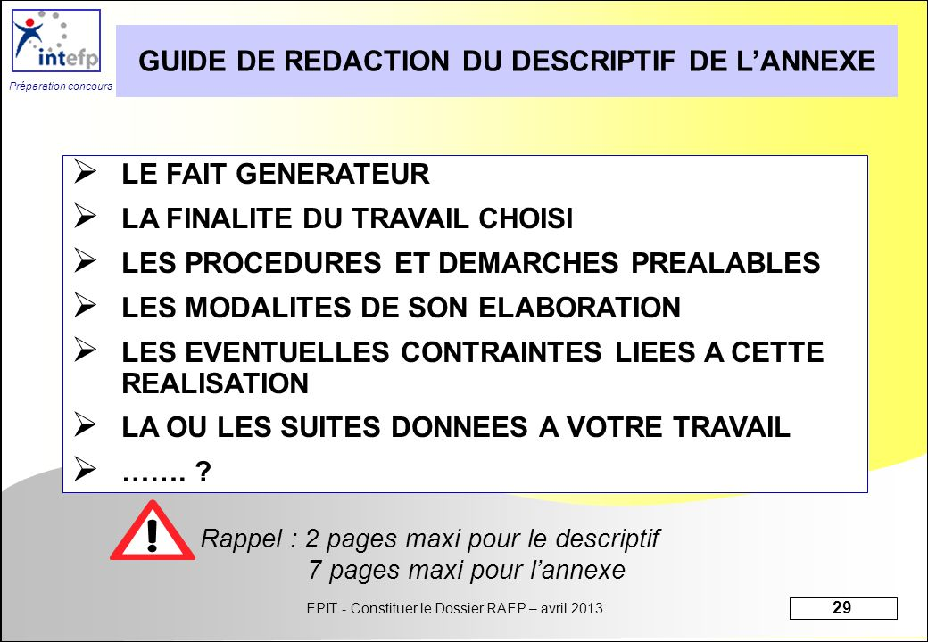 GUIDE DE REDACTION DU DESCRIPTIF DE L'ANNEXE