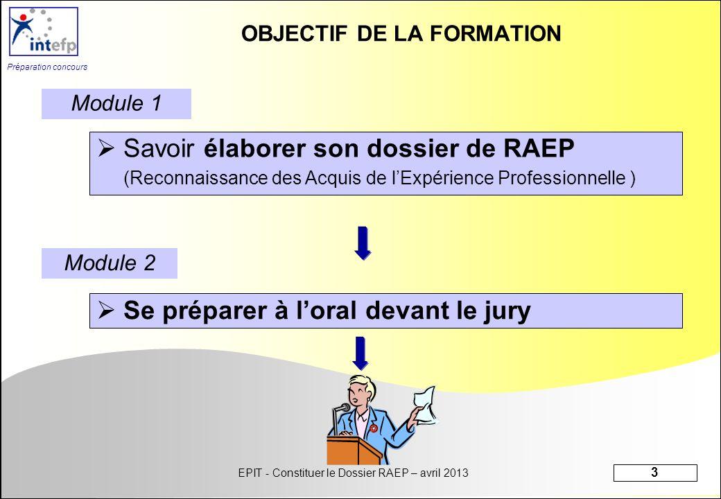 OBJECTIF DE LA FORMATION