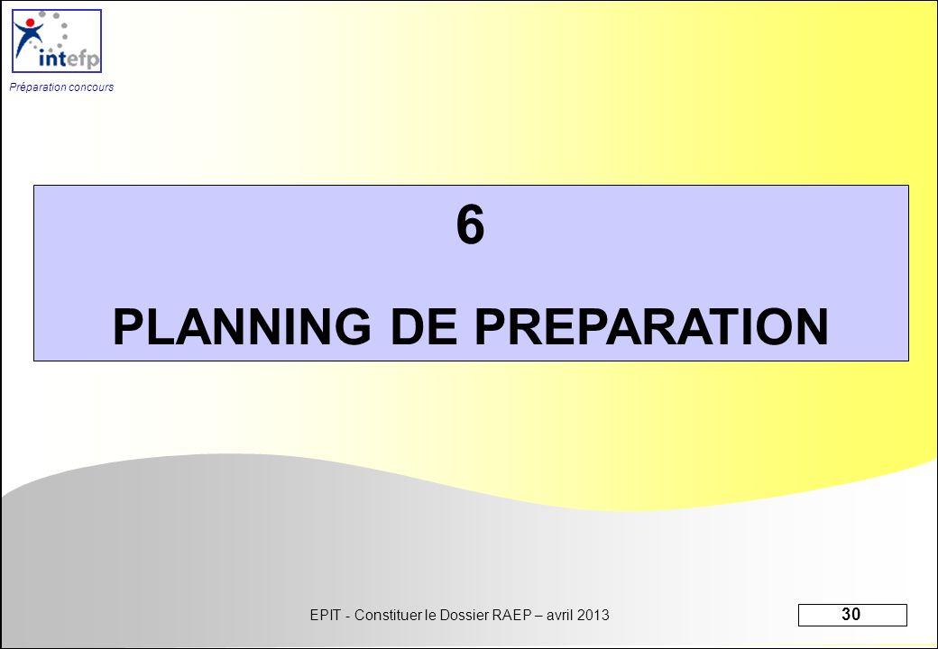 PLANNING DE PREPARATION