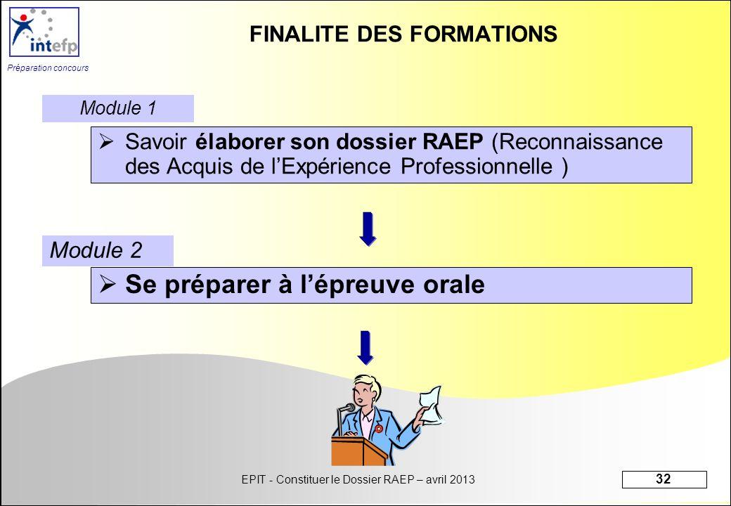 FINALITE DES FORMATIONS