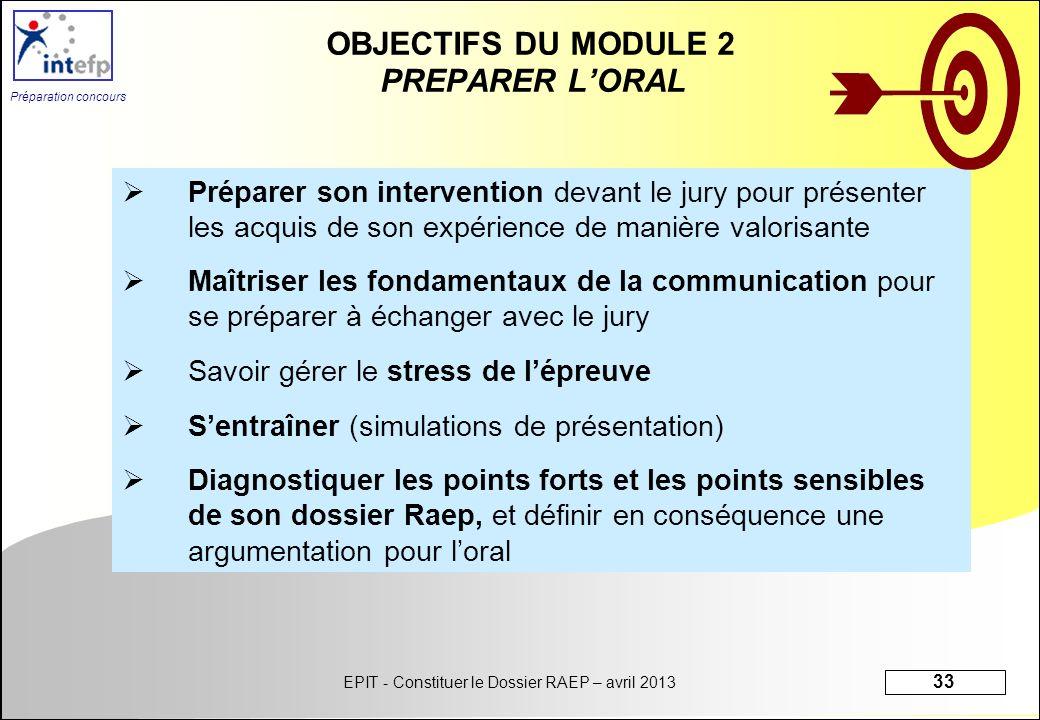 OBJECTIFS DU MODULE 2 PREPARER L'ORAL