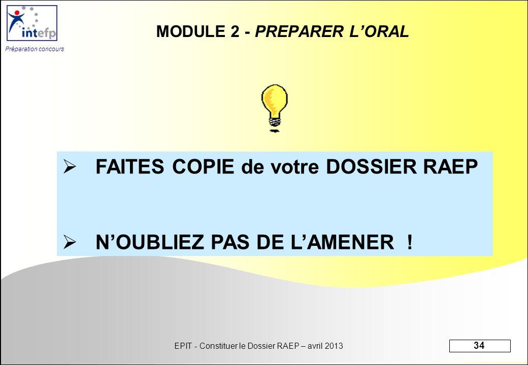 MODULE 2 - PREPARER L'ORAL