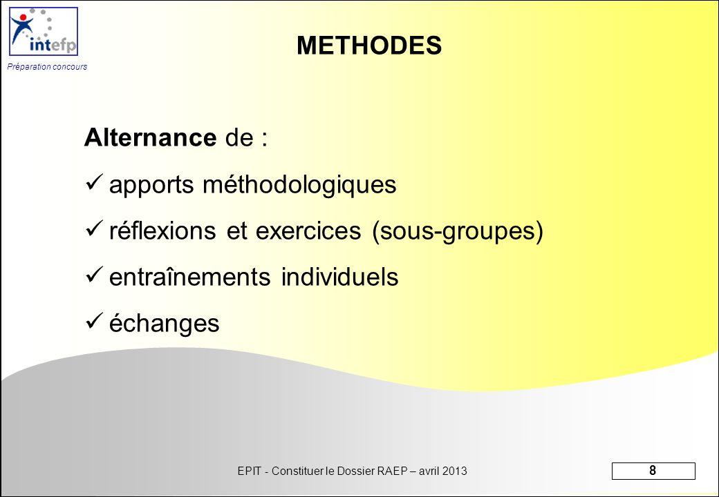 METHODES Alternance de : apports méthodologiques. réflexions et exercices (sous-groupes) entraînements individuels.