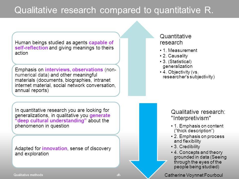 Qualitative research compared to quantitative R.