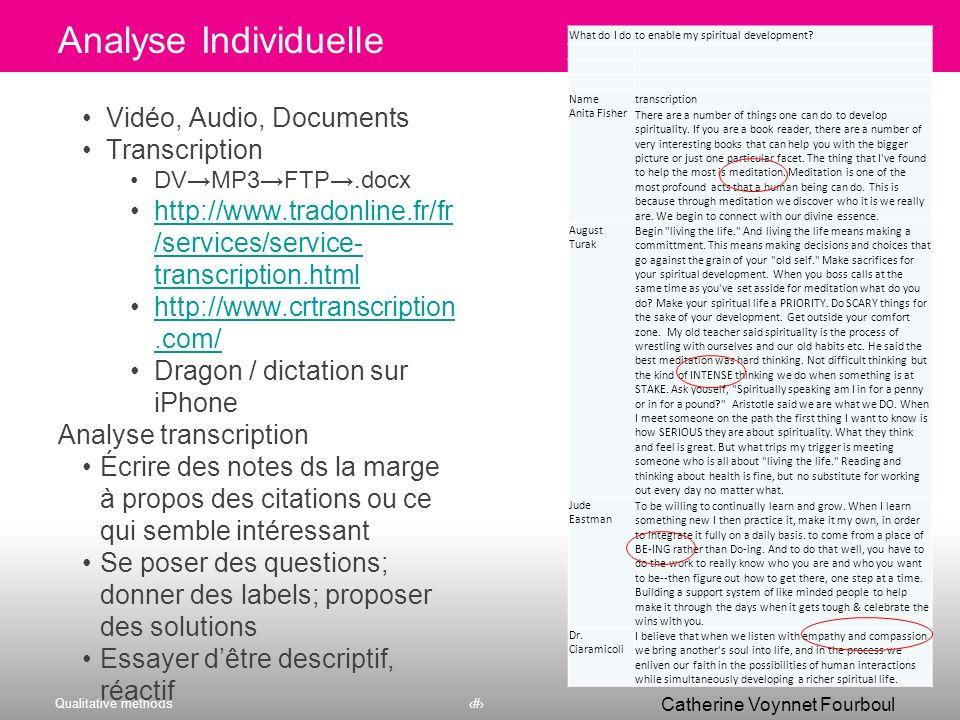 Analyse Individuelle Vidéo, Audio, Documents Transcription