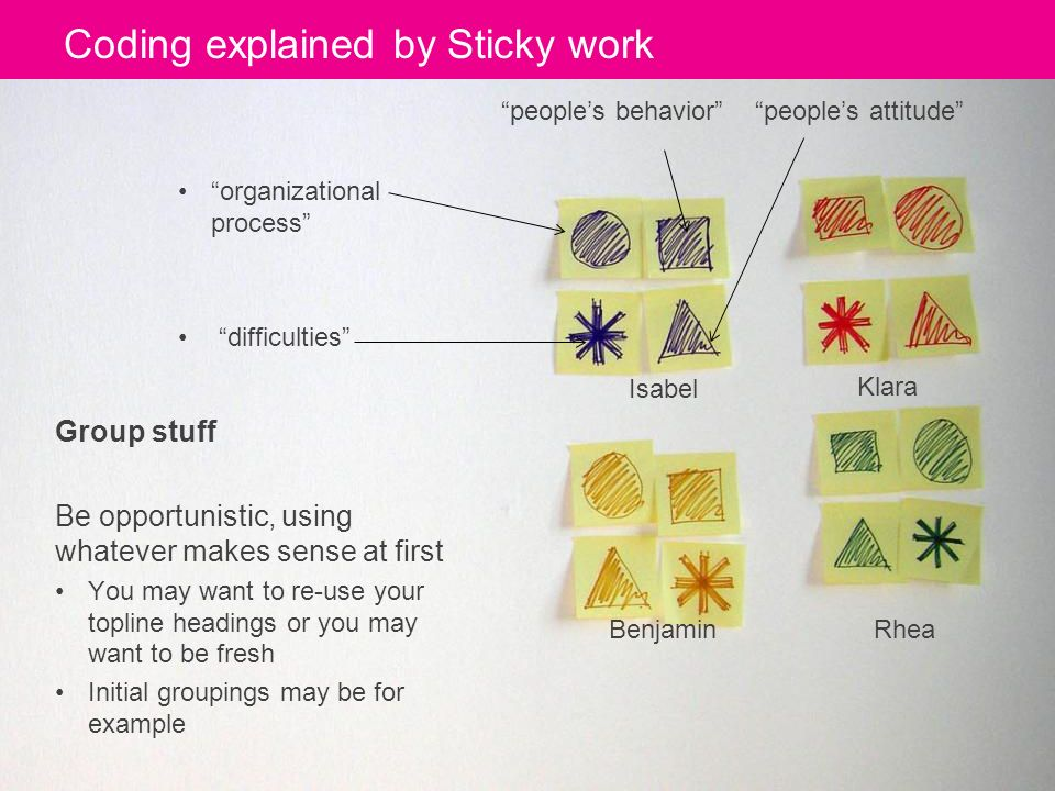 Coding explained by Sticky work