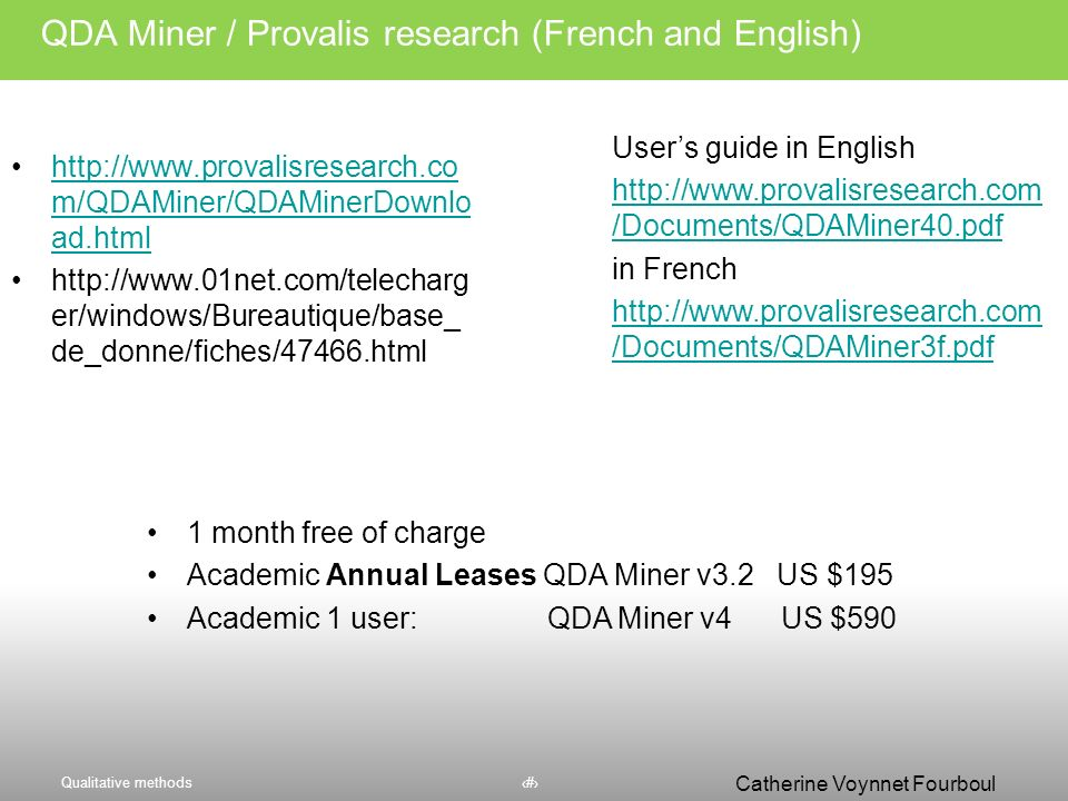 QDA Miner / Provalis research (French and English)
