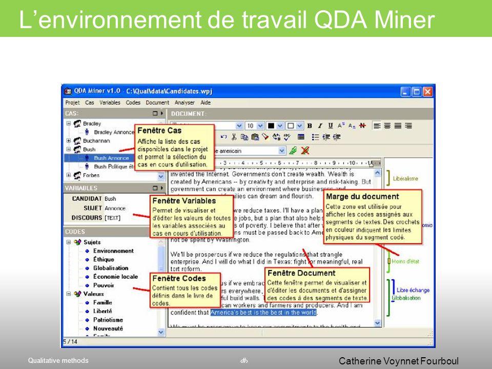 L'environnement de travail QDA Miner