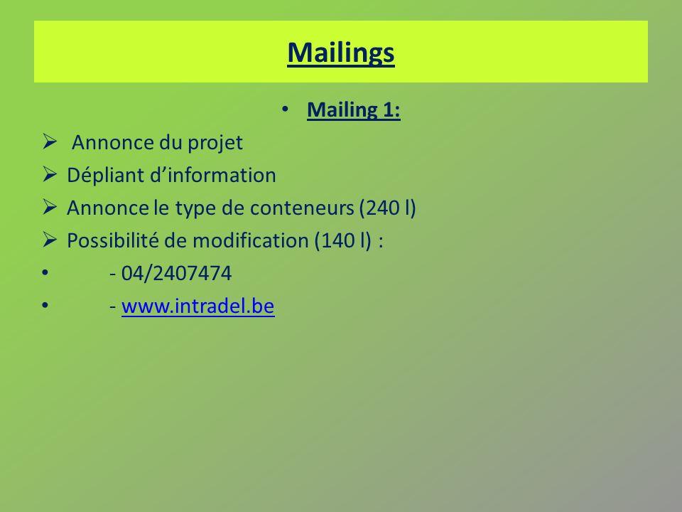 Mailings Mailing 1: Annonce du projet Dépliant d'information