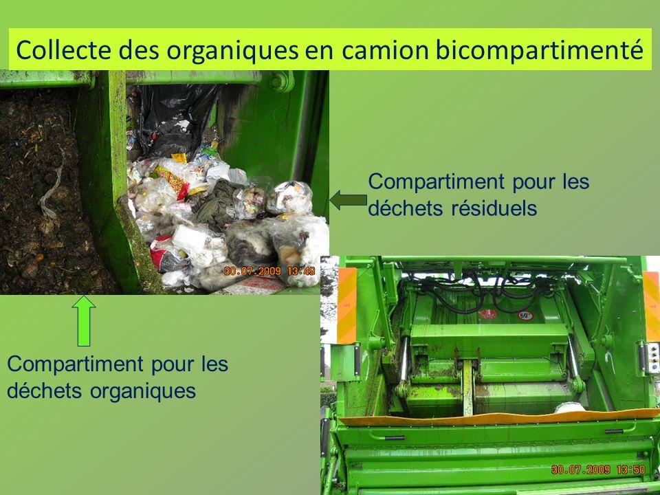 Collecte des organiques en camion bicompartimenté