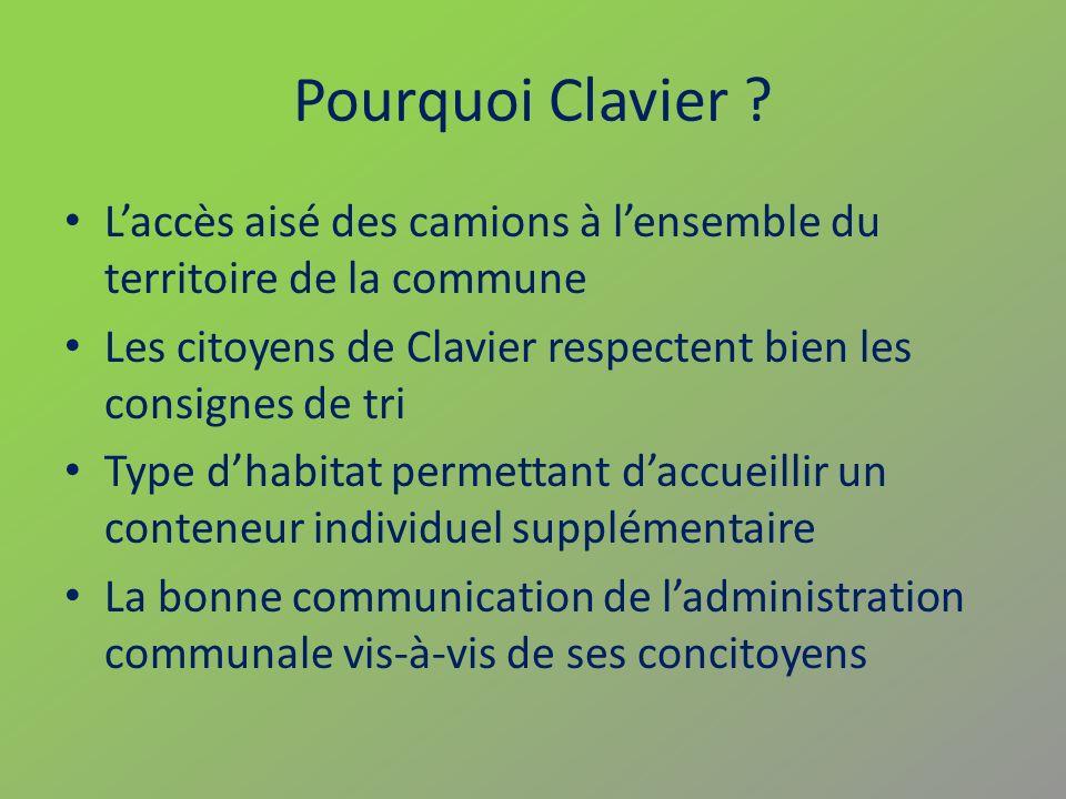 Pourquoi Clavier L'accès aisé des camions à l'ensemble du territoire de la commune. Les citoyens de Clavier respectent bien les consignes de tri.